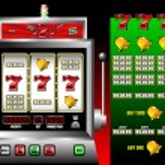Lucky seven slot machine vector illustra — Stock Vector