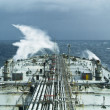 Oil tanker ship on open rough sea — Stock Photo #1699165