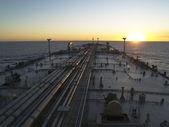 Oil tanker ship on open rough sea — Stock Photo