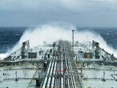 Oil tanker ship on open rough sea — Stock Photo