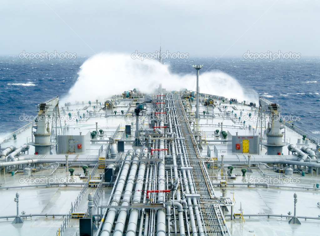 Oil tanker ship on open rough sea — Stock Photo #1698728