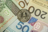 One zloty on all of polish cash — Stock Photo