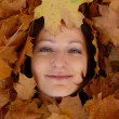 Stock Photo: Womface in leaves