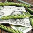 Ear of wheat and one dollar — Stock Photo