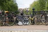 Bikes on the bridge in Amsterdam — Stock Photo