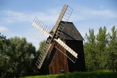 Windmill before trees — Stock Photo