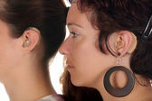 Woman with Hearing Aid — Stockfoto