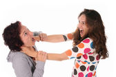 Two young woman fighting — Stock Photo