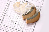 медицинские диаграммы и слуховой аппарат — Стоковое фото