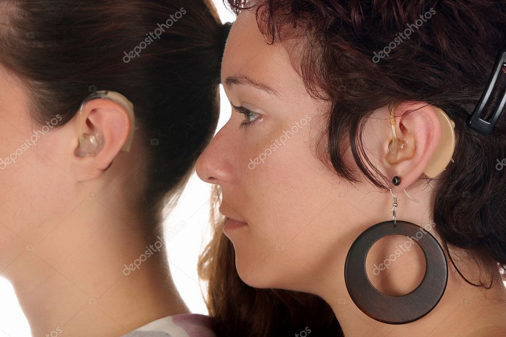 Beautiful young woman with Hearing Aid, closeup shot — Stock Photo #1654143