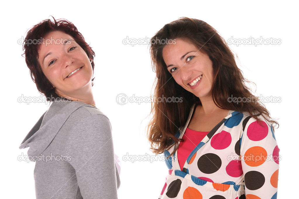 Two beautiful young woman over a white background — Stock Photo #1654232