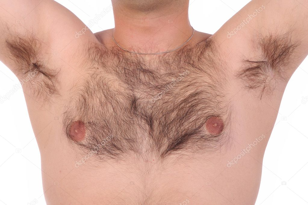 Person with shaggy chest and in close up — Stock Photo #1657396