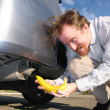 Banana and exhaust — Stockfoto
