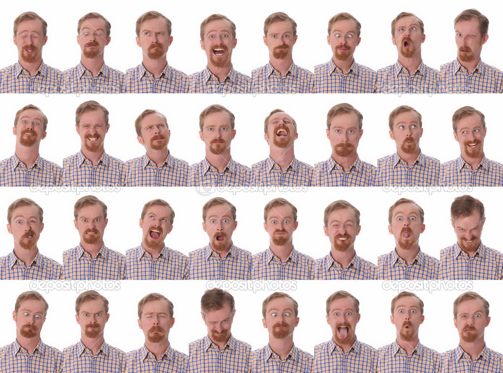 Details of large facial expressions on white background  — Stock Photo #1663809