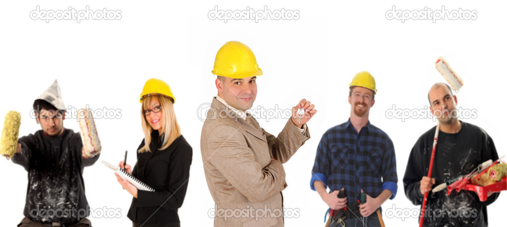 Leadership and team of workers on white background — Stock Photo #1668098