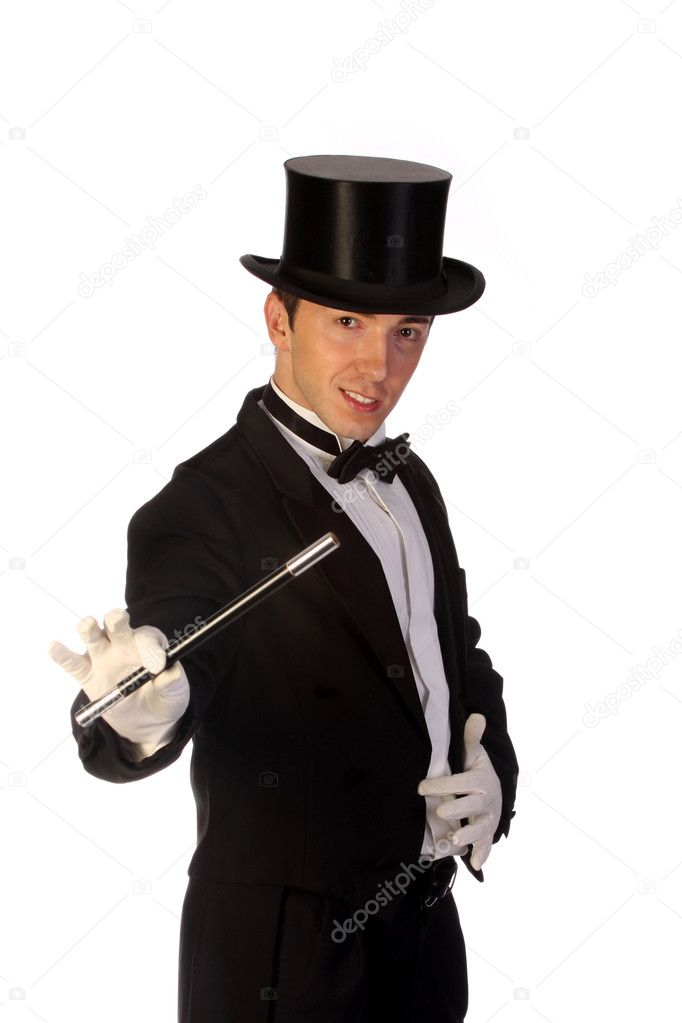 Young magician performing with wand on white background — Stock Photo #1673933