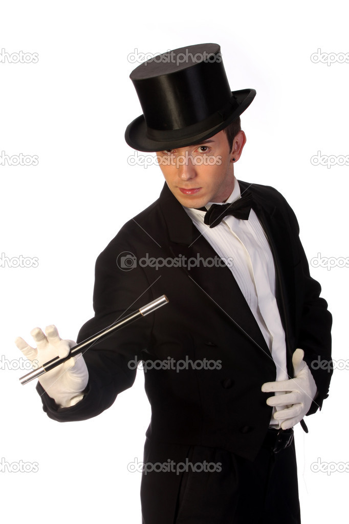 Young magician performing with wand on white background — Stock Photo #1673979