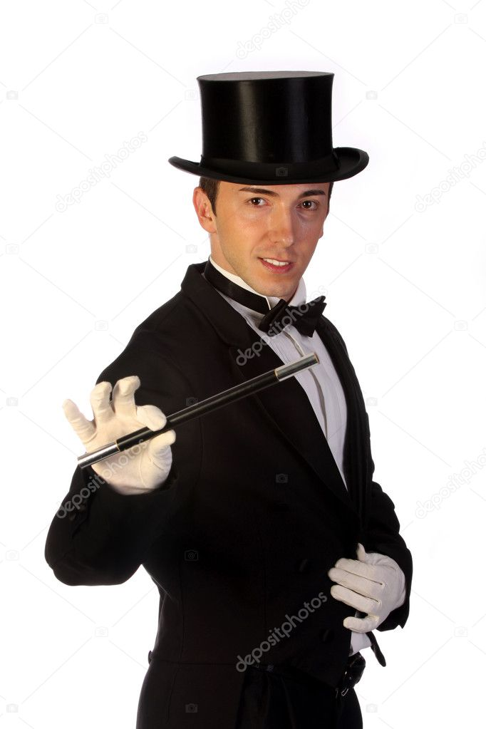 Young magician performing with wand on white background — Stock Photo #1673994