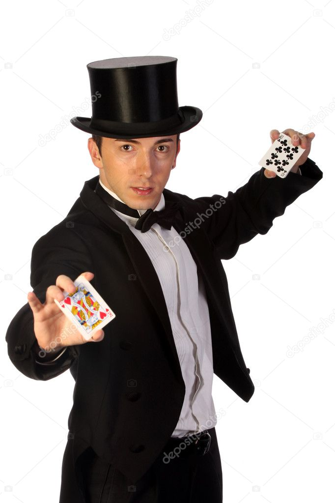 Young magician performing with cards on white background — Zdjęcie stockowe #1674010
