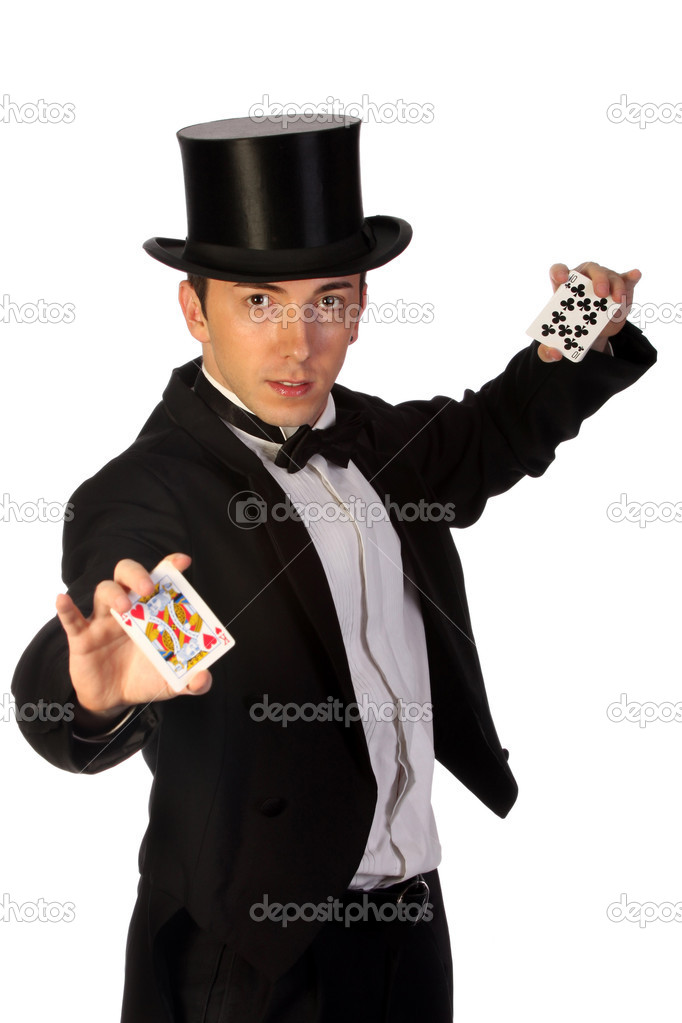 Young magician performing with cards on white background — Stok fotoğraf #1674010