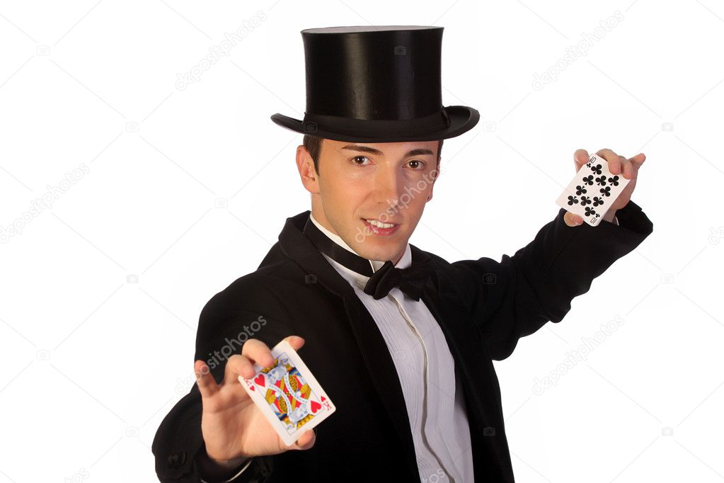 Young magician performing with cards on white background  Stock Photo #1674042