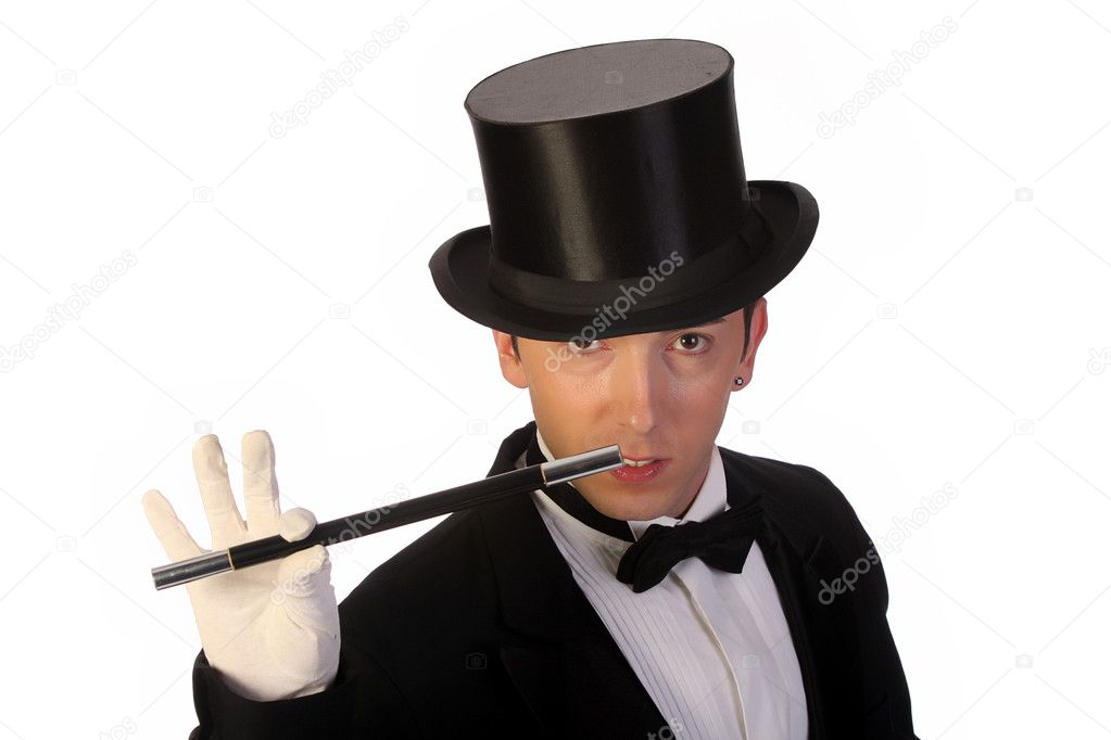 Young magician performing with wand on white background — Stock Photo #1674093
