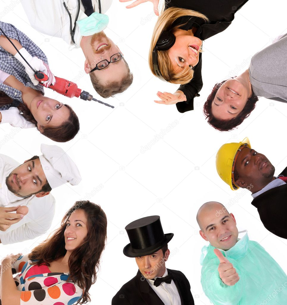 Large group of diversity workers on white background — Stock Photo #1675750