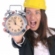 Businesswoman confused and clock — Stock Photo