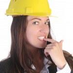 jeune femme d'affaires avec casque — Photo