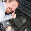 Checking engine oil dipstick — Stock Photo
