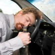 Tired driver sleeps — Stock Photo
