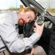Drunk man sitting in drivers — Stock Photo
