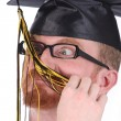 Very funny graduation a young man — Stock Photo #1695530