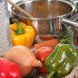 Preparing lunch and vegetables — Stock Photo