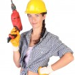 Beauty woman with auger — Stock Photo