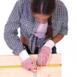 Woman carpenter at work - Foto Stock