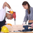 Stock Photo: Construction workers at work