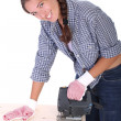 Woman carpenter at work — Stock Photo