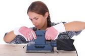 Woman carpenter at work — Stock Photo