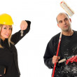 Businesswoman and house painter — Stock Photo
