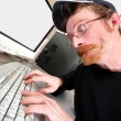 Stock Photo: Mad programmer