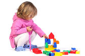 Girl with colorful blocks — Stock Photo