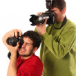 Professional photographers in action — Stock Photo
