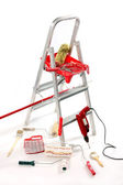Paint roller, brushes, borer and ladder` — Stock Photo