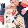 Woman carpenter with work tools — Stock Photo