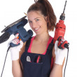 Beauty woman with auger and sander — Stock Photo