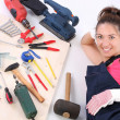 Woman carpenter with work tools — Stock Photo #1911240
