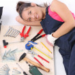 Woman carpenter with work tools — Stock fotografie