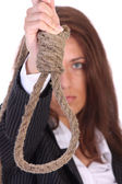 Young businesswoman with gallows — Stock Photo