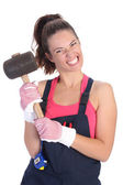 Woman with black rubber mallet — Stock Photo